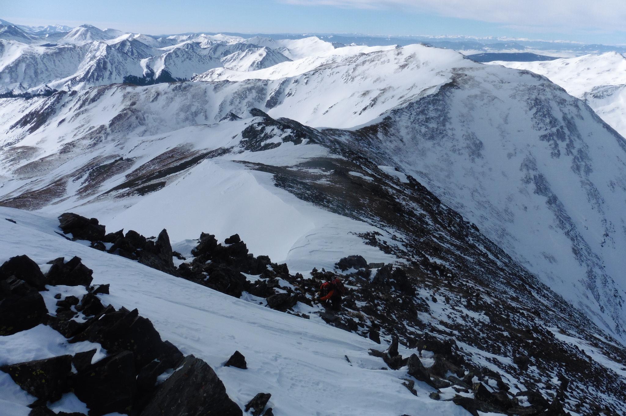 Colin climbing to the summit ridge on Emma Burr