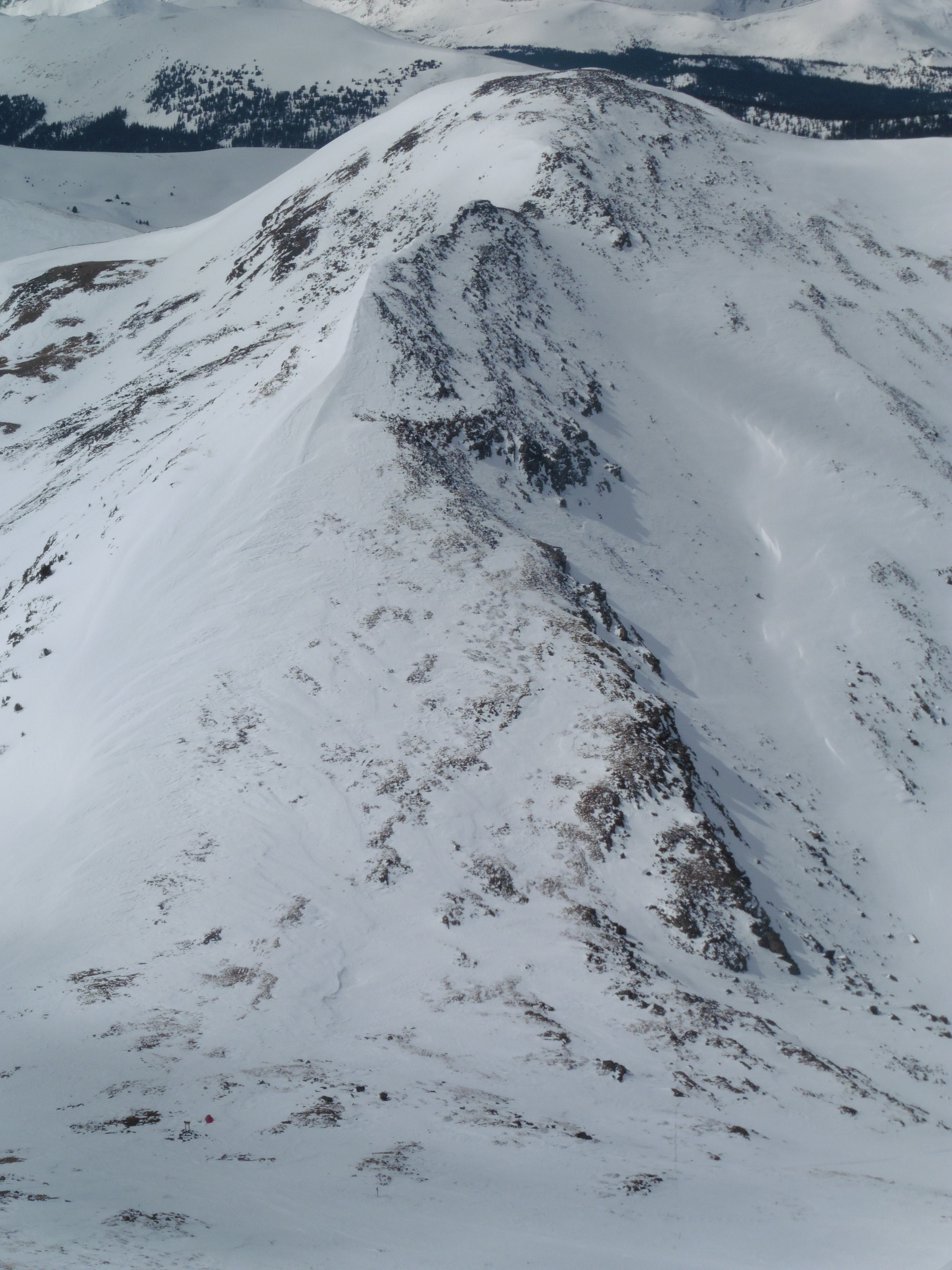 12,780 from Tincup on Sunday. The knife edge can be seen along the summit ridge. Note the red tent in the bottom left.
