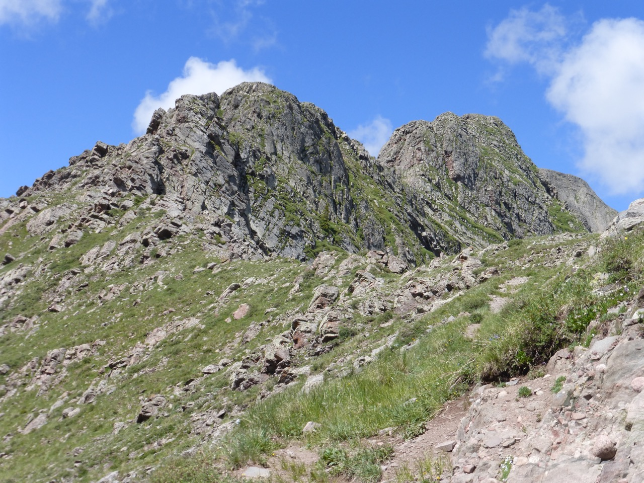 As we reached the saddle, our ridge route looked like this.