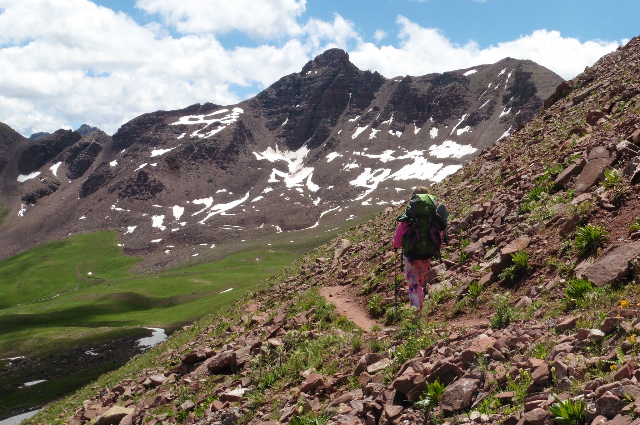 Descending to Fravert Basin with Belleview Mtn as a backdrop