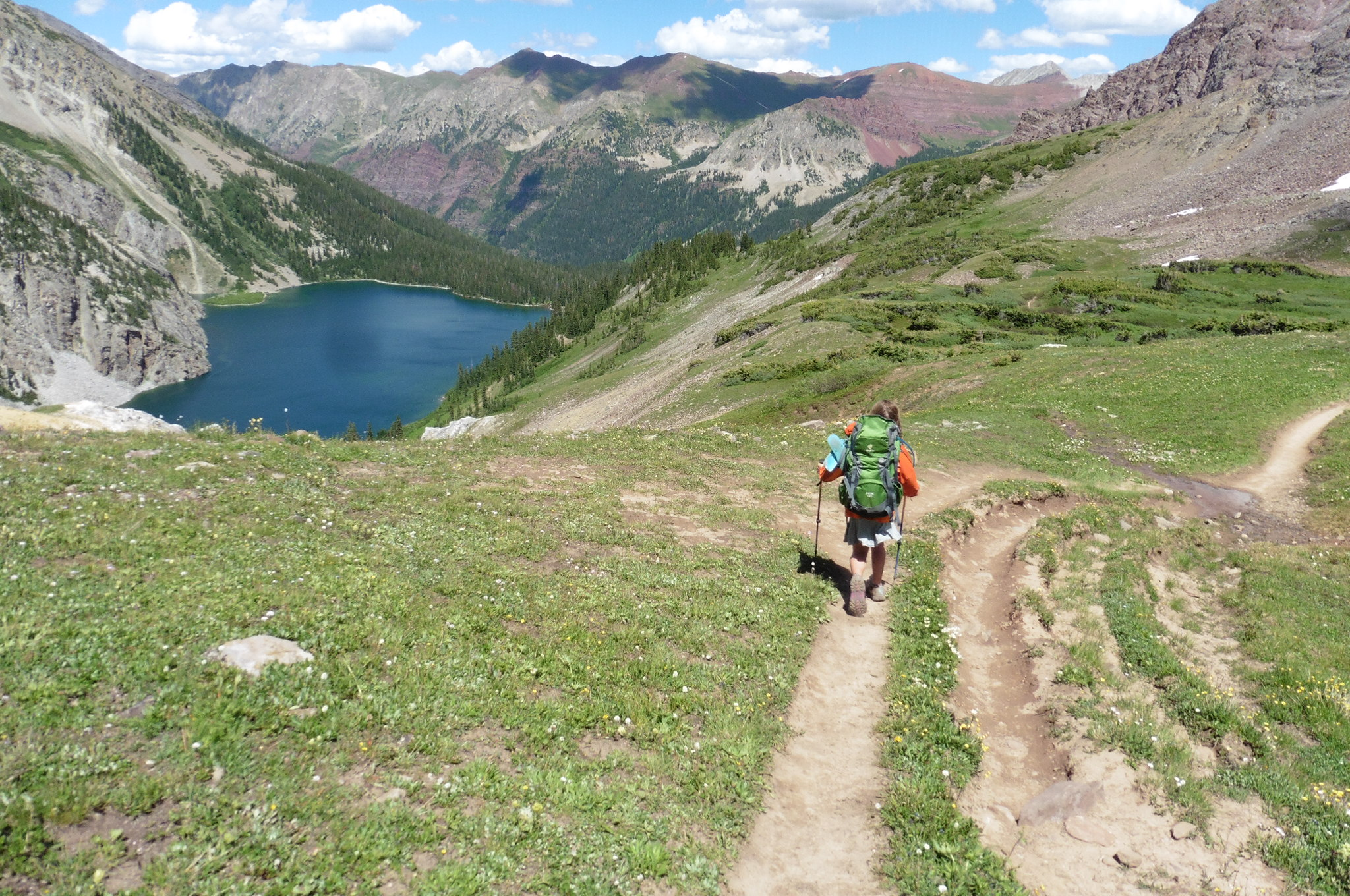 Descending to Snowmass Lake.