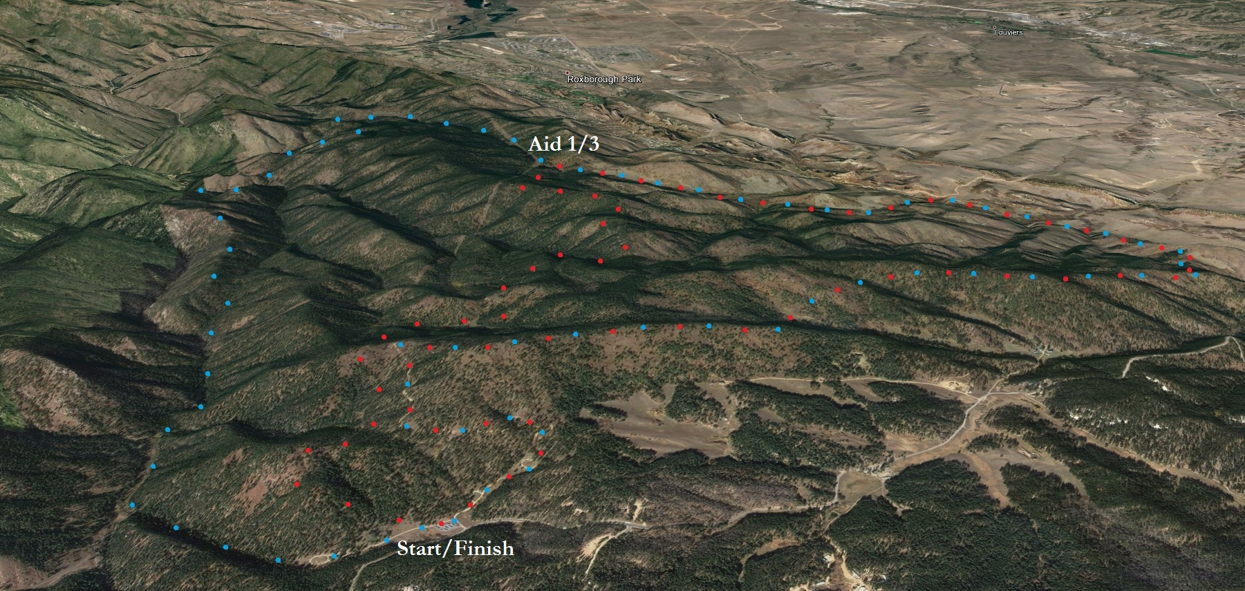 Rendering of the course from Google Earth. Red is the first CCW loop, blue is the second CW loop.