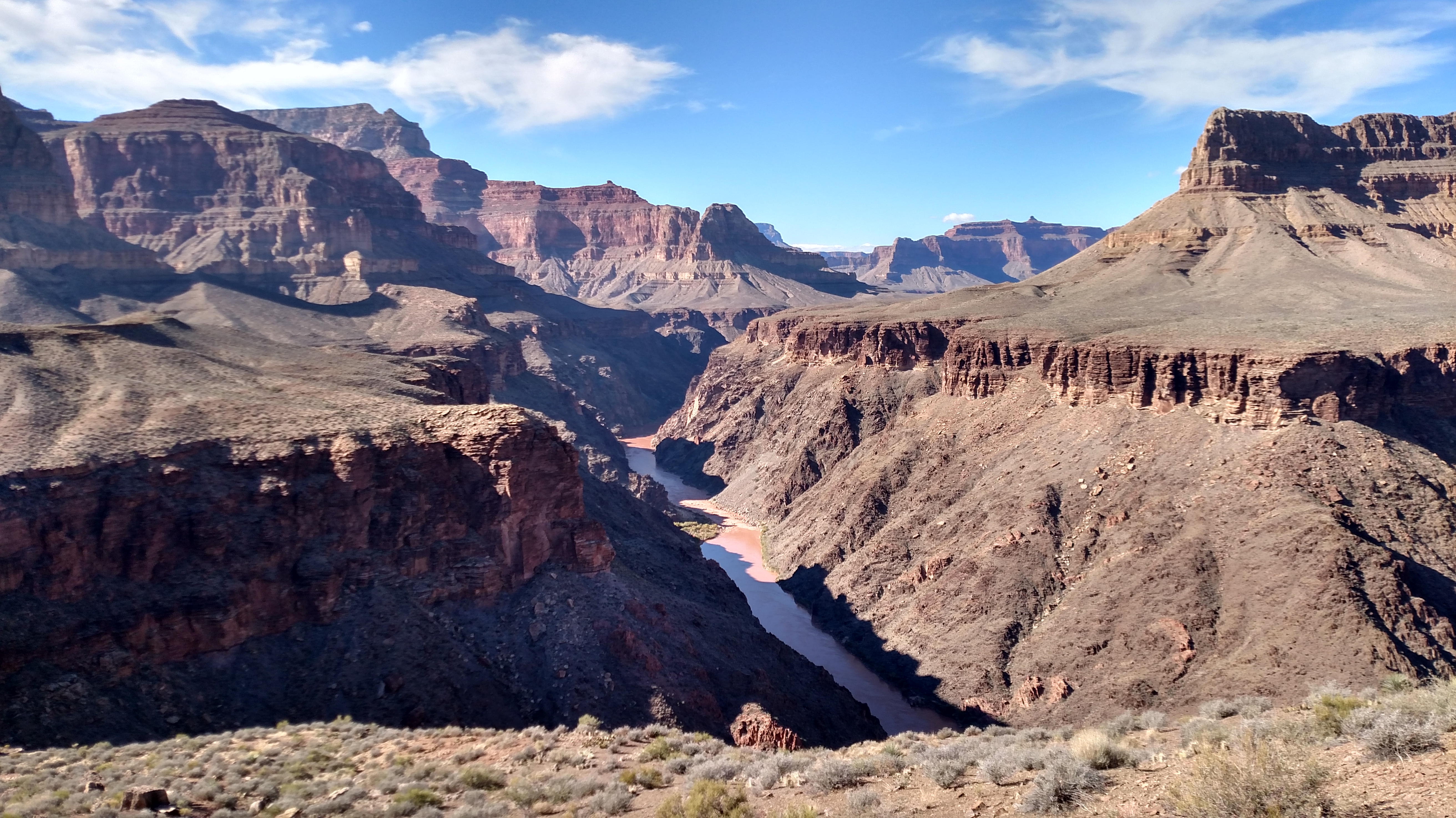 Looking down at Granite Rapids - Cope Butte, Whites Butte, Marsh Butte, and Tower of Set (L->R)